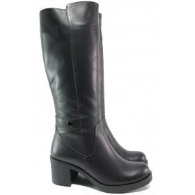Дамски ботуши - естествена кожа - черни - EO-14984
