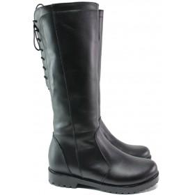 Дамски ботуши - естествена кожа - черни - EO-14988