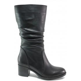 Дамски ботуши - естествена кожа - черни - EO-14999