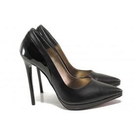 Дамски обувки на висок ток - висококачествена еко-кожа - черни - EO-15078