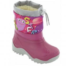 Гумени детски ботуши - висококачествен pvc материал и текстил - розови - EO-14893