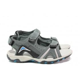 Детски сандали - висококачествен еко-велур - сиви - EO-14172