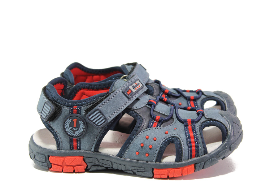 Детски сандали - висококачествена еко-кожа - тъмносин - EO-14170