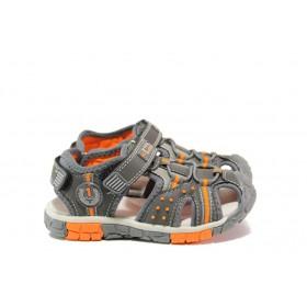 Детски сандали - висококачествена еко-кожа - сиви - EO-14169