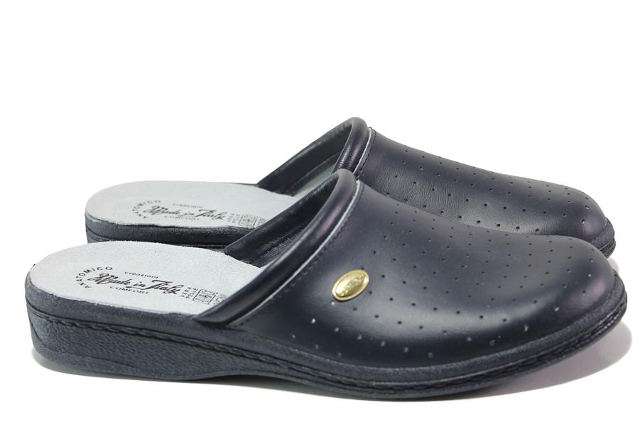 Мъжки чехли - висококачествен текстилен материал - черен - EO-11980
