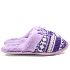 Дамски пантофи - висококачествен текстилен материал - лилави - EO-14523