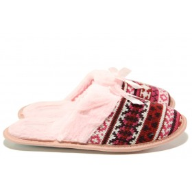 Дамски пантофи - висококачествен текстилен материал - розови - EO-14524