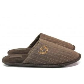 Домашни чехли - висококачествен текстилен материал - кафяви - EO-14531
