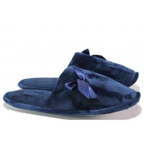 Дамски пантофи - висококачествен текстилен материал - тъмносин - EO-14555