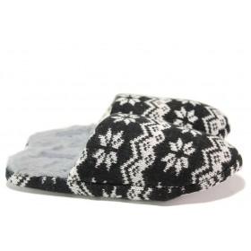 Дамски пантофи - висококачествен текстилен материал - черни - EO-14557