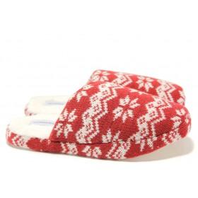 Дамски пантофи - висококачествен текстилен материал - бордо - EO-14558