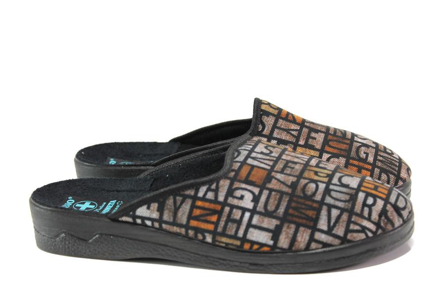 Домашни чехли - висококачествен текстилен материал - кафяви - EO-14691