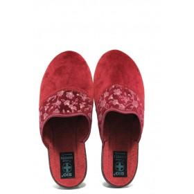 Домашни чехли - висококачествен текстилен материал - бордо - EO-14692