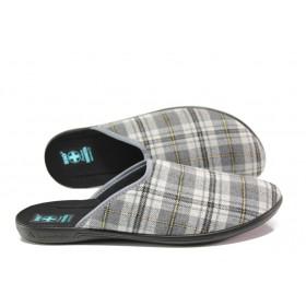 Домашни чехли - висококачествен текстилен материал - сиви - EO-14702