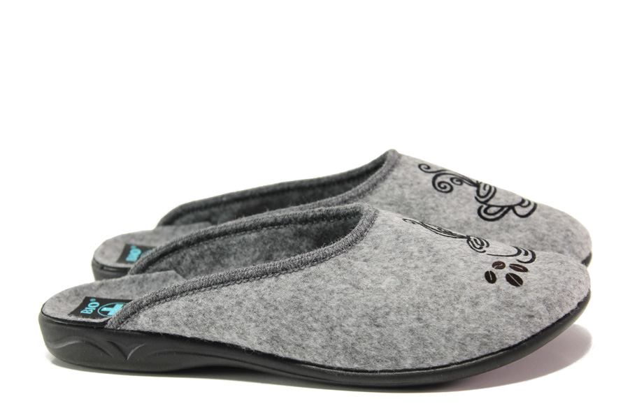 Домашни чехли - висококачествен текстилен материал - сиви - EO-14704