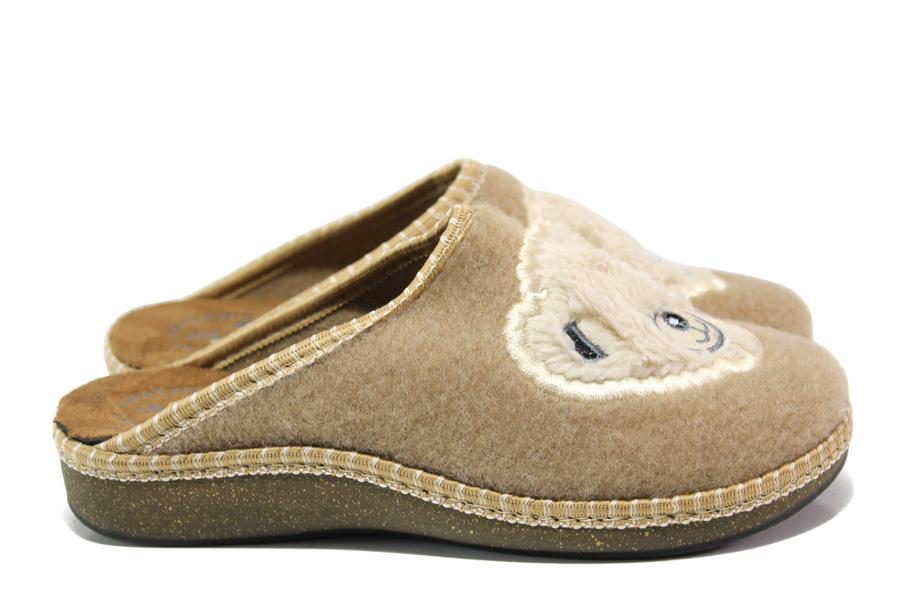 Дамски пантофи - висококачествен текстилен материал - бежови - EO-14732