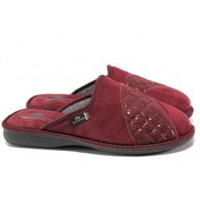 Дамски пантофи - висококачествен текстилен материал - бордо - EO-14728