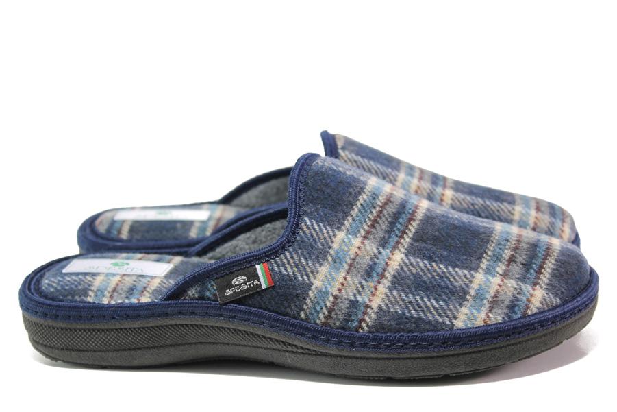 Мъжки чехли - висококачествен текстилен материал - тъмносин - EO-14715