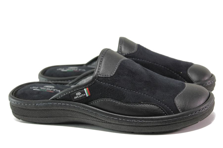 Мъжки чехли - еко-кожа с текстил - черни - EO-14720
