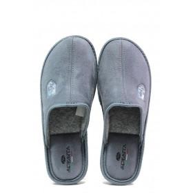 Мъжки чехли - висококачествен текстилен материал - сиви - EO-14717