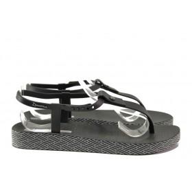 Дамски сандали - висококачествен pvc материал - черни - EO-14130
