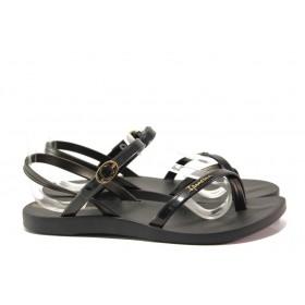 Дамски сандали - висококачествен pvc материал - черни - EO-14128