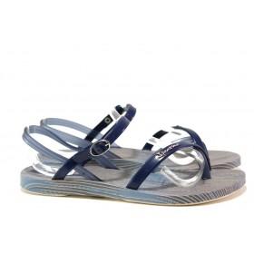 Дамски сандали - висококачествен pvc материал - сини - EO-14124