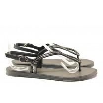 Дамски сандали - висококачествен pvc материал - черни - EO-14132