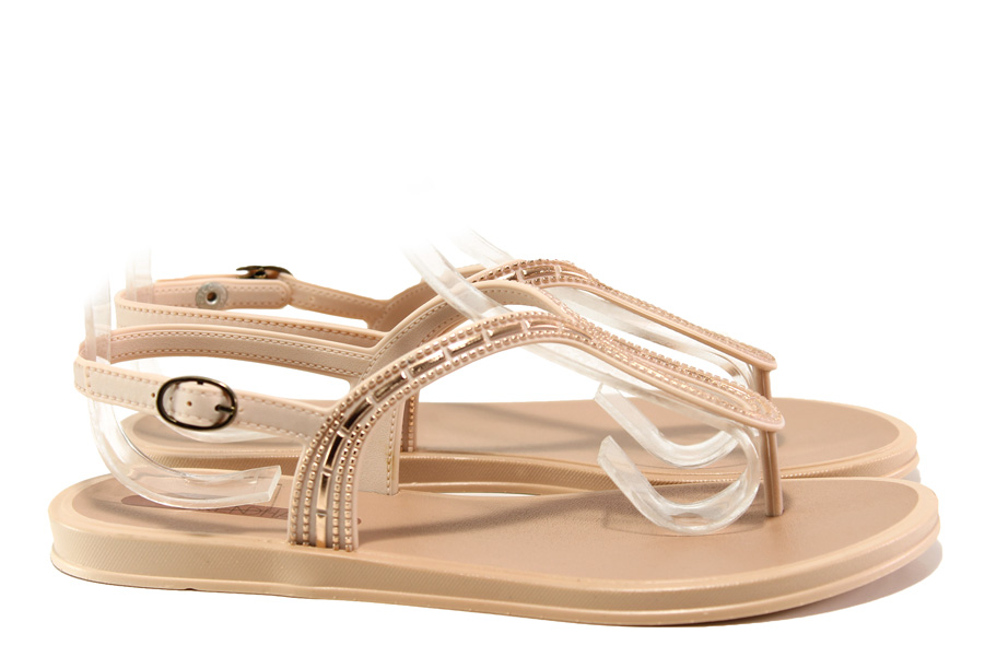 Дамски сандали - висококачествен pvc материал - розови - EO-14131