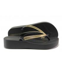 Дамски чехли - висококачествен pvc материал - черни - EO-14112
