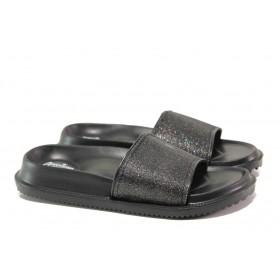 Дамски чехли - висококачествен pvc материал - черни - EO-14220