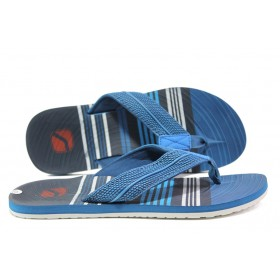 Джапанки - висококачествен pvc материал и текстил - сини - EO-14243