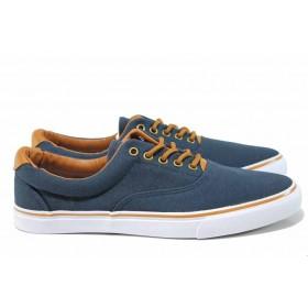 Мъжки обувки - висококачествен текстилен материал - тъмносин - EO-14060