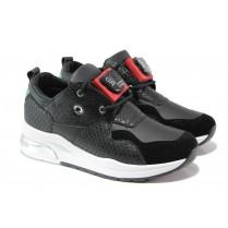 Дамски спортни обувки - висококачествена еко-кожа - черни - EO-13537
