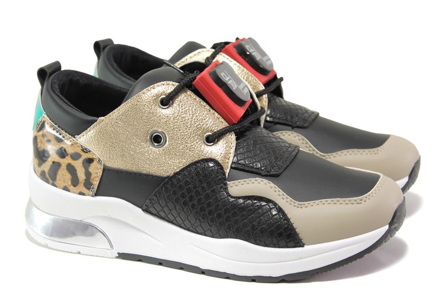 Дамски спортни обувки - висококачествена еко-кожа - черни - EO-13536