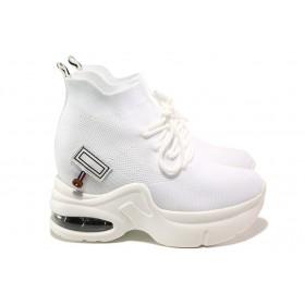 Дамски спортни обувки - висококачествен текстилен материал - бели - EO-13539