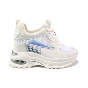 Дамски спортни обувки - еко-кожа с текстил - бели - EO-13540