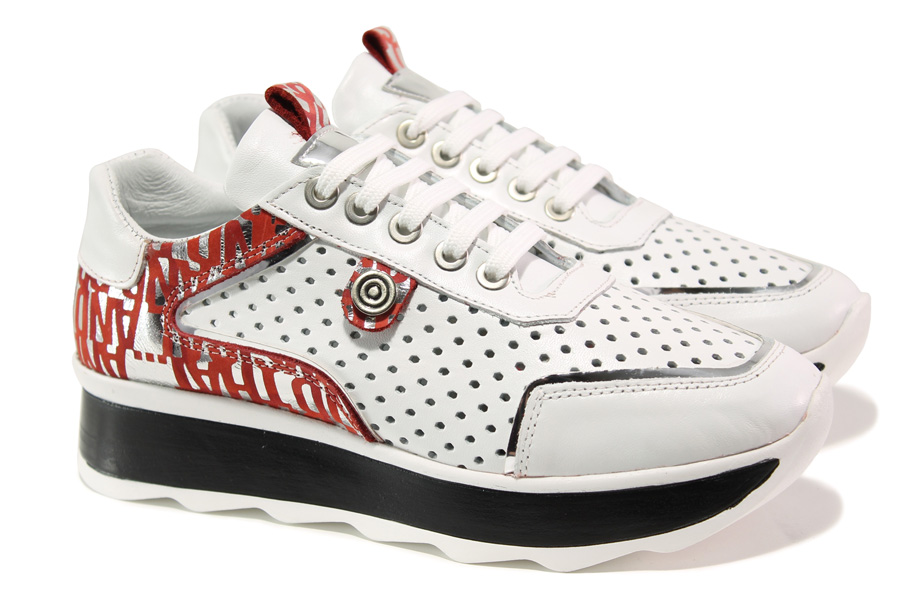 Дамски спортни обувки - естествена кожа - бели - EO-13665