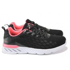 Дамски маратонки - висококачествен текстилен материал - черни - EO-13729