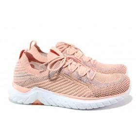 Дамски маратонки - висококачествен текстилен материал - корал - EO-13728