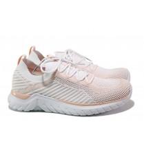 Дамски маратонки - висококачествен текстилен материал - бели - EO-13726