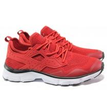 Мъжки маратонки - естествена кожа в съчетание с еко-кожа - червени - EO-13720
