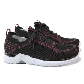Дамски маратонки - висококачествен текстилен материал - черни - EO-13727