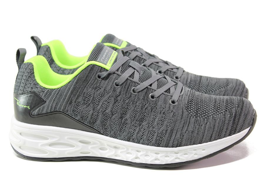 Мъжки маратонки - висококачествен текстилен материал - сиви - EO-13722