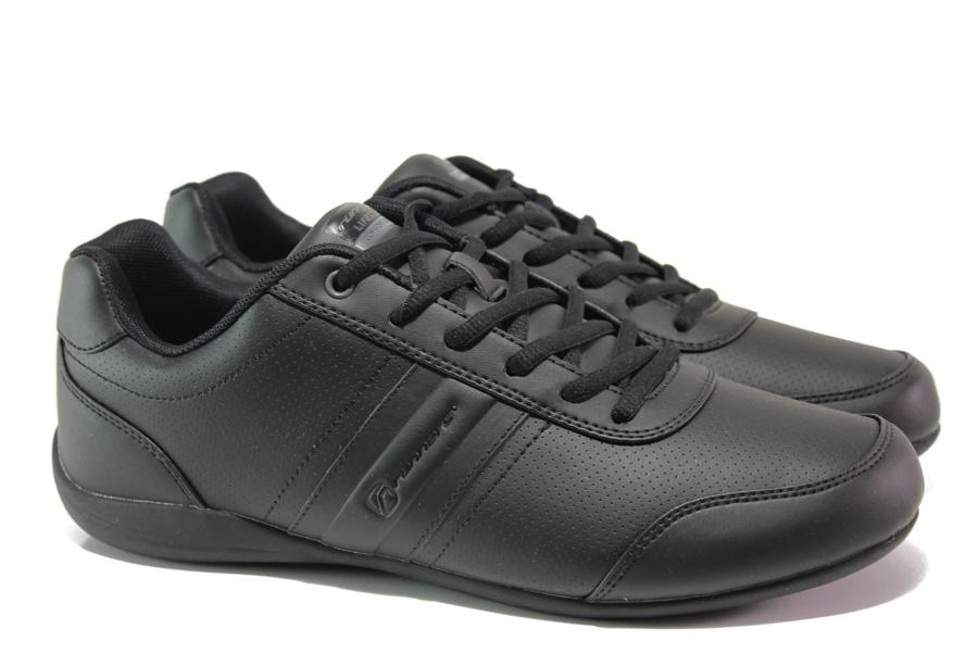 Спортни мъжки обувки - висококачествена еко-кожа - черни - EO-13704