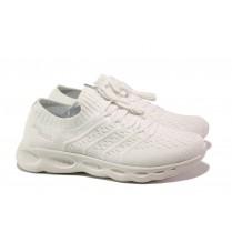 Дамски маратонки - висококачествен текстилен материал - бели - EO-13733