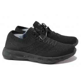 Юношески маратонки - висококачествен текстилен материал - черни - EO-13692