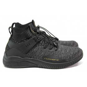 Спортни мъжки обувки - висококачествен текстилен материал - черни - EO-13702