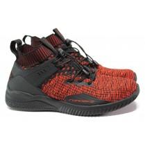 Спортни мъжки обувки - висококачествен текстилен материал - червени - EO-13701