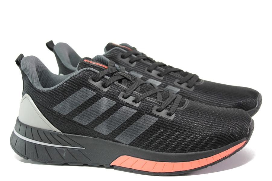 Спортни мъжки обувки - висококачествен текстилен материал - черни - EO-13706